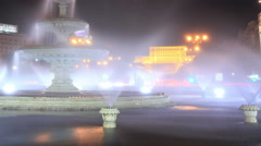 The Palace of the Parliament in Bucharest. night time lapse with fountains Stock Footage