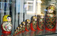 many traditional russian matryoshka dolls - stock photo