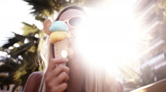 Girl Eating Ice Cream Stock Footage