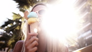 Stock Video Footage of Girl Eating Ice Cream