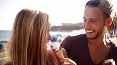 Couple Being Silly With Ice Creams Stock Footage