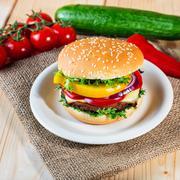 Homemade hamburger with fresh vegetables, close up Stock Photos