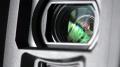 ULTRA HD 4K Camera lens aperture close up optic equipment photo studio day glass Stock Footage