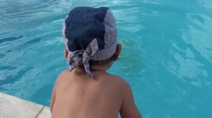 Baby can fall into the pool Stock Footage