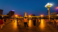 The people(Dama) dance in Zhongshan Square at night in Shenyang, China Stock Footage