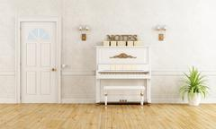 Stock Illustration of home entrance with piano