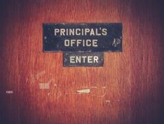 retro grunge principal office - stock photo
