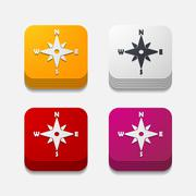 Stock Illustration of square button: compass