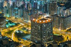 Night hongkong cityscpae pattern traffic light streak Kuvituskuvat