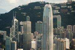 center of hongkong ifc building - stock photo