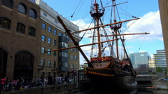 Old Sailing Ship near London Bridge - stock footage