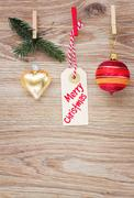 Tag with christmas decorations Stock Photos