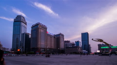 The view of north train station square in Shenyang, China Stock Footage