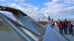 Futuristic Balustrade of Millennium Bridge London - stock footage