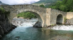 Ara river in the Torla in Valle de Ordesa valley Pyrenees Stock Footage