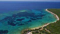 Aerial - Adriatic bay with clear blue water on a sunny day in summer Stock Footage