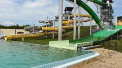 Aqua park amusement water park Stock Footage