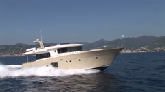 Luxury boat navigating at full speed  - stock footage