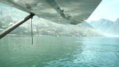 Floatplane navigating on Como lake  Stock Footage