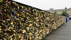"""Love Locks"" on the Pont Des Arts. Stock Footage"