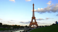Eiffel Tower from the Trocadero Gardens Stock Footage