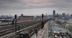 Ultra HD 4K Queens New York City Skyline Subway Train Station Busy City Traffic Stock Footage