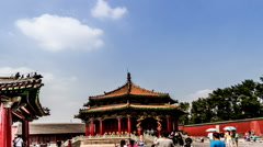 Walking from left to right,the famous Dazheng Hall in Forbidden City of Shenyang Stock Footage