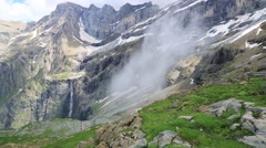 The Cirque of Gavarnie with famous waterfall, Pyrenees, France. Stock Footage