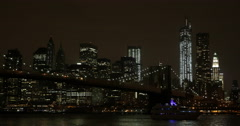 Ultra HD 4K Establishing Shot Spectacular New York City Skyline Night Light Ship Stock Footage