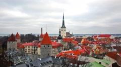 View of the old town. Tallinn, Estonia Stock Footage