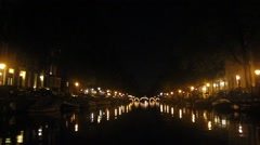 Amsterdam canals by night Stock Footage
