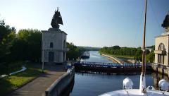 Transport Pasinger Ship run through gateway on Volga river timelapse Stock Footage