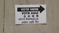 Vote Election Sign in Multiple Languages in New York Stock Video - stock footage