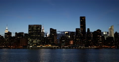 UHD 4K Spectacular New York City Skyline View Landmark Illuminated Night Dusk Stock Footage