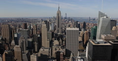 Ultra HD 4K Spectacular New York City Skyline Aerial View Midtown Manhattan Day Stock Footage