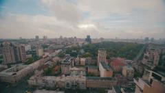 Kiev city panorama rigth to left cloudy wheather Stock Footage