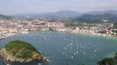 Overview of the Bay of San Sebastian, Spain Stock Footage