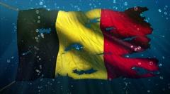 Belgium Under Water Sea Torn Flag Loop Animation - 4K Resolution Ultra HD UHD Stock Footage
