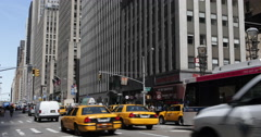 UltraHD 4K 6th Avenue Midtown Manhattan Busy City Center Street Yellow Cab Cars Stock Footage