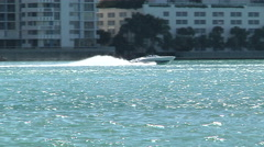 Boat navigating fast close to Miami  - stock footage