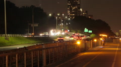 TIME LAPSE, WEST SIDE HWY +EXERCISE PATH NIGHT Stock Footage