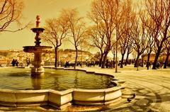 Jardim de sao pedro de alcantara in lisbon, portugal Stock Photos