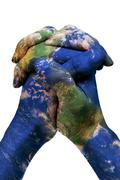 The world in your hands (earth map furnished by nasa) Stock Illustration