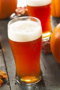 frothy orange pumpkin ale - stock photo