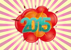 illustration of 2015 text with explosion - stock illustration