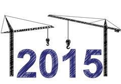 Illustration of 2015 text witn two cranes Stock Illustration