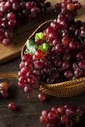 organic raw red grapes - stock photo
