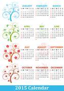 illustration of 2015 calendar season tree - stock illustration