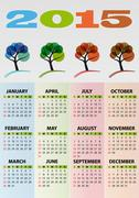 Stock Illustration of illustration of 2015 calendar season tree