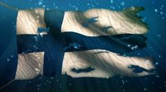 Finland Under Water Sea Torn Flag Loop Animation - 4K Resolution Ultra HD UHD - stock footage